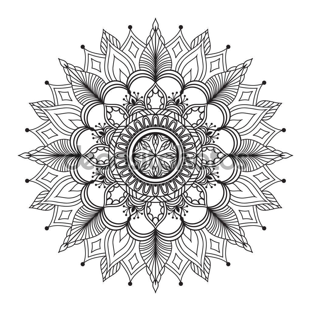Flower mandala. Coloring book is anti-stress. Decorative ethnic ornament. Zentangle style.